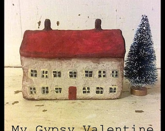 Miniature Cottage House, Little House, Paper Clay House