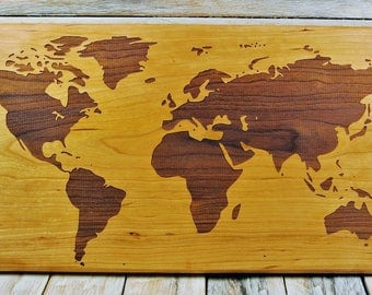 World Map - Engraved on Cherry Wood - Wooden World Map - Solid Slab Map - World Map Art -  9 3/4 x 20 Inches