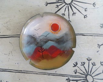 Mid Century Enamel Over Copper Ashtray Plate Sun Rising Over Mountains