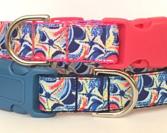 Ocean Jewels Lilly Pulitzer Inspired Dog Collar / Lilly Pulitzer Ocean Jewels Inspired Pet Leash