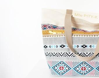 "Cotton tote bag golden geometric cotton and glitter ""Sierra blue"" // Glitter bag // summer bag"