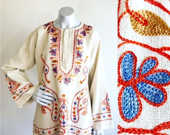 1970s Indian Cotton Embroidered Bell Sleeve Tunic Mini Dress