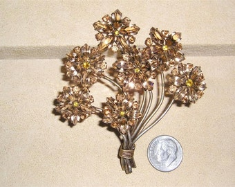 Czechoslovakia Vintage Signed Large Invisibility Flower Bouquet Brooch 1950's Rhinestones Jewelry a12