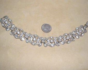 Vintage Art Deco Pot Metal Clear Rhinestone Bracelet 1920's Jewelry 3015