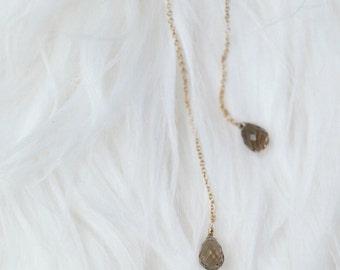 Smoky quartz, Threader earrings in 14k gold filled