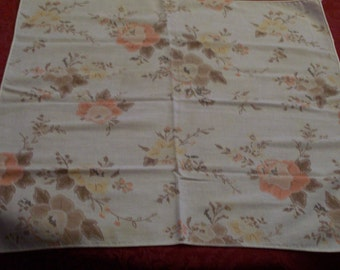 Vintage Cloth Napkins Set of 4 Brown Peach Floral Cotton 1970s Retro Colors Fabric Cloth Dinner Napkins