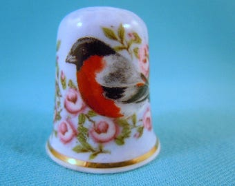 Thimble Bone China with Bird and Roses