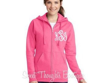 Monogrammed Ladies Zip Up Hoodie, Personalized Womens Zip Up Hoodie, Monogrammed Womens Zip Up Sweatshirt, Bridesmaid Hoodie, Wedding Hoodie