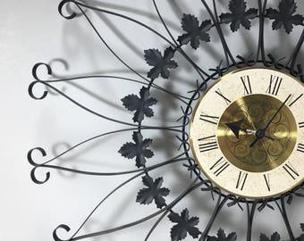 Vintage Starburst Wall Clock, Sears Roebuck Wrought Iron Wall Clock, Battery Operated Wall Clock, Mid Century Modern
