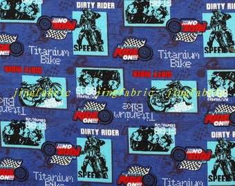 C358 - 140cmx100cm Cotton Fabric - Sport - Motorcycles and racers