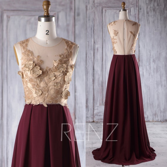 Rose gold lace bridesmaid dress long maroon chiffon wedding for Burgundy and gold wedding dress