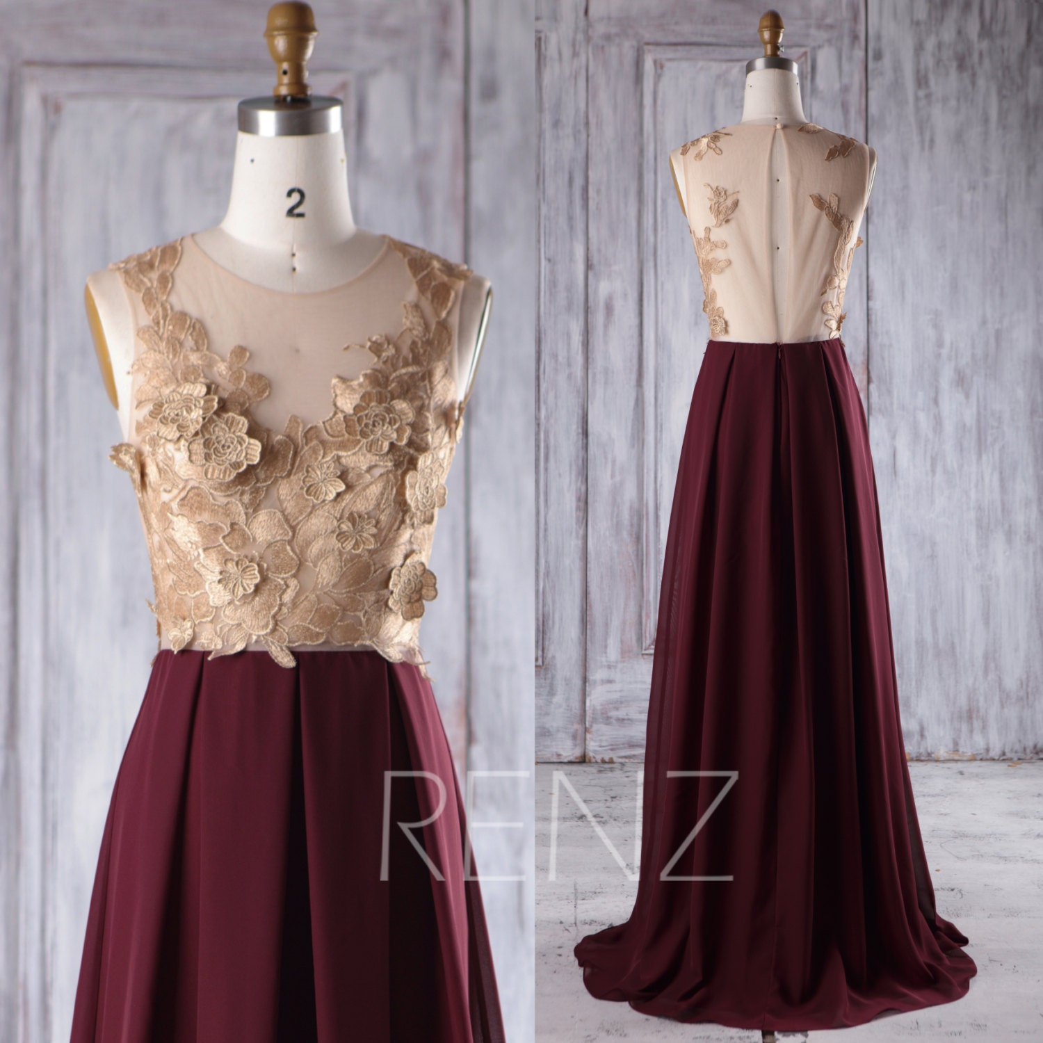 Rose gold lace bridesmaid dress long maroon chiffon wedding for Can i make my own wedding dress