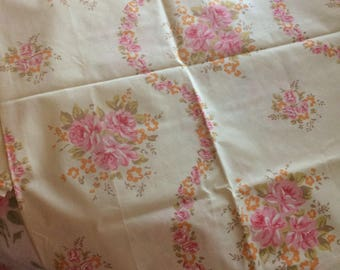 A pair of VINTAGE shabby chic pink cabbage rose  pillowcases