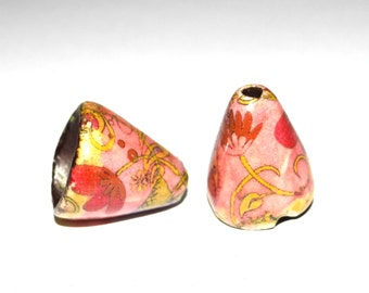 Ceramic Earring Cone Beads Pair Floral Charms Pink