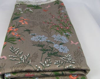 Rich Taupe Polished Cotton with Wildflowers, Remnant, Perennial Flowers, Taupe, Pale Blue, Vibrant Orange, Airy White