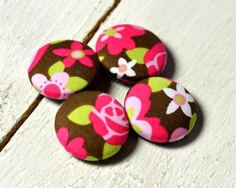 Fabric covered button magnets (4) –  Cotton Blossomy Blush pattern - Strong magnets