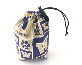 UW Huskies, Dice Bag, Draw String Bag, Free Standing, Revisable, Gamer Bag, D&D Dice Bag, Makeup Bag, Small Gift Bag, Pouch, RTS