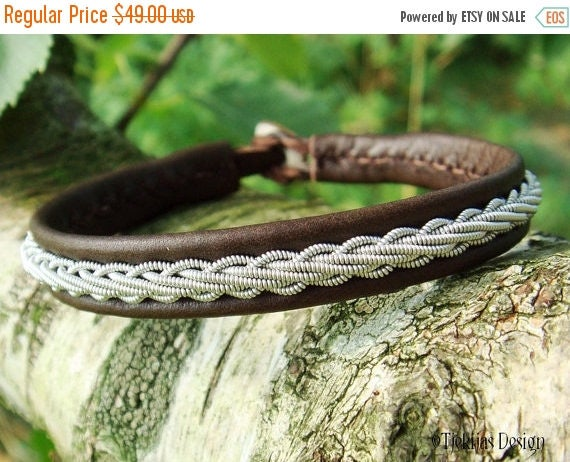 Brown Leather Viking Bracelet Cuff THOR Custom Handmade Swedish Sami Bracelet in Antique Reindeer Leather, Pewter Braid and Antler Closure
