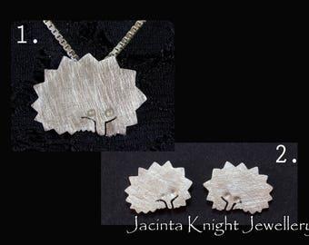 Sterling silver echidna earrings or pendant