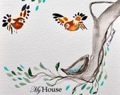 small watercolor of birds building a nest with verse My House will be a house of prayer 5x7 sparrow