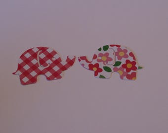 25 Large MOD ELEPHANT paper punch,  2 inch wide x 1.5 double sided white with flowers, plaid back confetti, scrap booking.