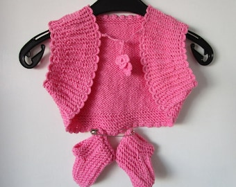 Baby Cardigan, Pink Boots, Hand knitted baby bolero, Baby vest, Pink Shoes and Sweater for Baby Girl, Girl 6/11 months, Knit Top First Shoes