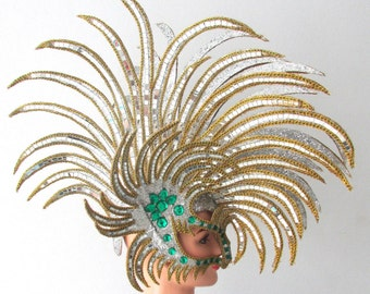 Vegas Showgirl Pageant American Gold Mohawk Tribal Headdress
