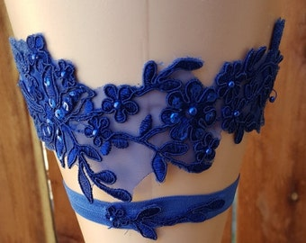 SALE Royal Blue Lace Wedding Garter Set/ Lace Bridal Garter Set / Royal Wedding Garter Belt/ Beaded Lace Garter/ Bombshell Garter Collection
