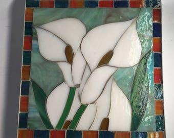 White Calla Lily Table Mosaic Trivet
