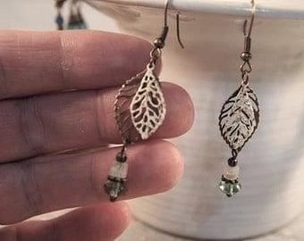 SALE Czech Bead Earrings, Czech and Quarts Dangle Pierced or Clip-on Earrings, Boho Chic Earrings Vintage Style Beaded Earrings CKDesigns.US