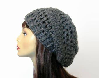 Gray Slouch Beanie Gray Crochet Slouchy Hat Charcoal Slouchy Hat gray knit Beret Dark Gray Knit Slouch Cap Charcoal Beanie Gray Tam Slouch