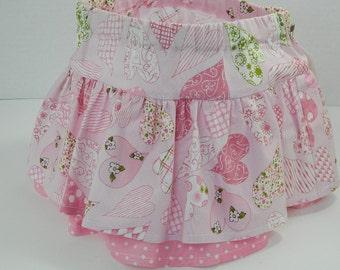 Girls' Pink Skirt, Twirl Skirt, Easy On Toddler Clothing, Girls' Spring Summer Skirt, Pink Hearts Print, Cotton Clothing, Handmade Girls'