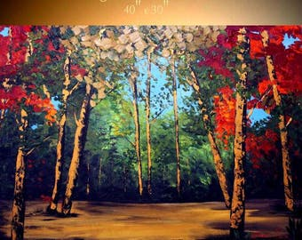 "Oil Landscape  Abstract Original Modern 40"" palette knife Birch Trees  impasto oil painting by Nicolette Vaughan Horner"