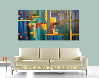 "XLarge Contemporary Modern Multi Colored  Abstract Original 48"" palette knife impasto oil painting by Nicolette Vaughan Horner"