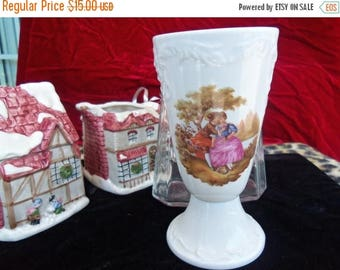 On Sale Vintage Limoges Porcelaine Victorian Lovers Vase Made in France