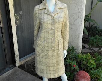 Vintage 1960/70's Beige Plaid Wool Coat - Size 10/12