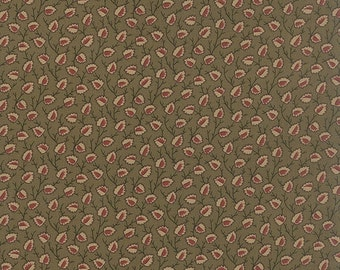 15% off thru 2/28 OLD CAMBRIDGE PIKE Moda fabric by the half yard 100 Percent quilt weight cotton Civil War tan red leaves on green 8322-12