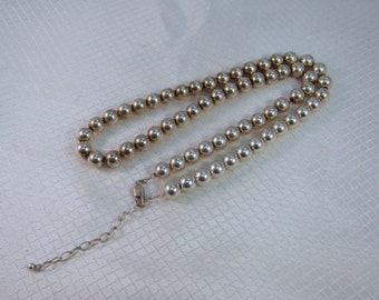 "1980's Sterling 8mm Beaded 20"" Necklace"