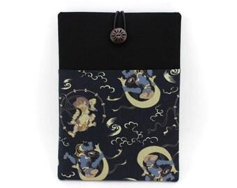 """iPad Pro 9.7"""" Sleeve, Tablet Case, Gift Idea Under 25 Kimono Cotton Fabric Fujin Raijin Dark Navy"""