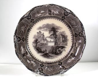 Antique Vincennes Mulberry Transferware Ironstone Plate made by J. Alcock