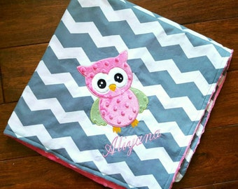 Personalized baby gifts owl etsy cotton chevron and minky dot owl baby blanket personalized with name great for baby shower negle Choice Image