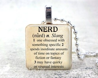 Funny Nerd Dictionary Definition Necklace - Fantasy Sci Fi Geekery Jewelry - Science Fiction Quote Wood Pendant