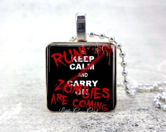 Run Zombies are Coming Necklace - Funny Zombie Keep Calm Pendant - Walkers Wood Tile Necklace
