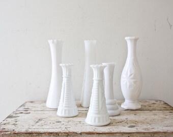 White Milk Vase Lot Wedding White Vases Vintage Milk Glass Vase 6 Milk Glass Collection