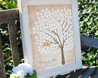 Custom Wedding Tree Guest Book Alternative, Rustic Wedding Tree, Unique Wedding Guest Book, Personalized Love Birds Print, 50-300 Guests