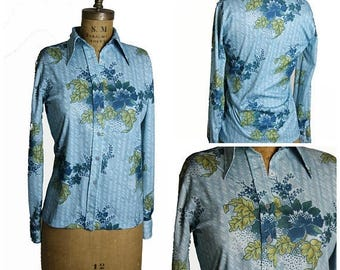 on sale 1970s Floral Button Up