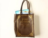 Shopper bag Jane Austen Book Bag Pride and Prejudice Chocolate Brown Faux Leather Shopping Bag
