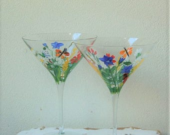 Wild Flower Martini Glasses Hand Painted Set of 2