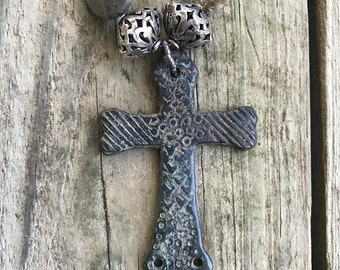 ANTIQUE FRENCH CROSS on Necklace of Agate and Jasper with Pewter