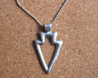 Arrow Necklace / Cast Silver Southwest Jewelry  / Vintage Arrow Pendant